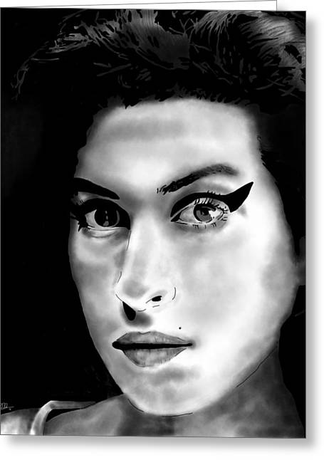 Penny Ovenden Greeting Cards - Amy Winehouse Greeting Card by Penny Ovenden