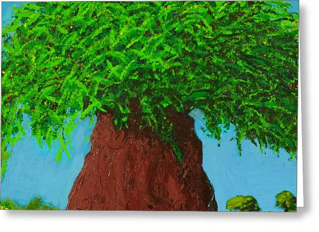 Prussian Blue Greeting Cards - Amys Tree Greeting Card by Angela Annas
