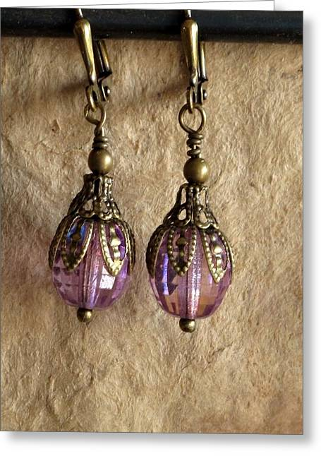 Gold Earrings Jewelry Greeting Cards - Amythest Drops Greeting Card by Jan Brieger-Scranton