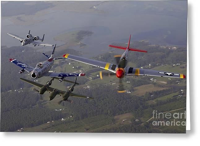 Jet Greeting Cards - An A-10 Thunderbolt, F-86 Sabre, P-38 Greeting Card by Stocktrek Images