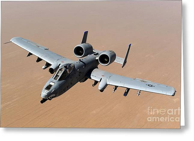 Middle Ground Greeting Cards - An A-10 Thunderbolt Ii Over The Skies Greeting Card by Stocktrek Images