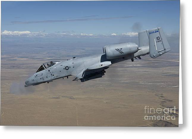 Moving Colors Greeting Cards - An A-10c Thunderbolt Fires Its 30mm Greeting Card by HIGH-G Productions