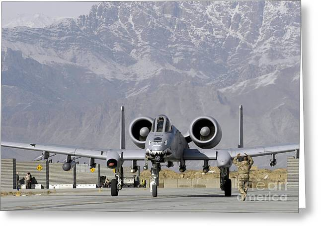 Taxiing Greeting Cards - An A10 Thunderbolt Ii Taxis Down Bagram Greeting Card by Stocktrek Images