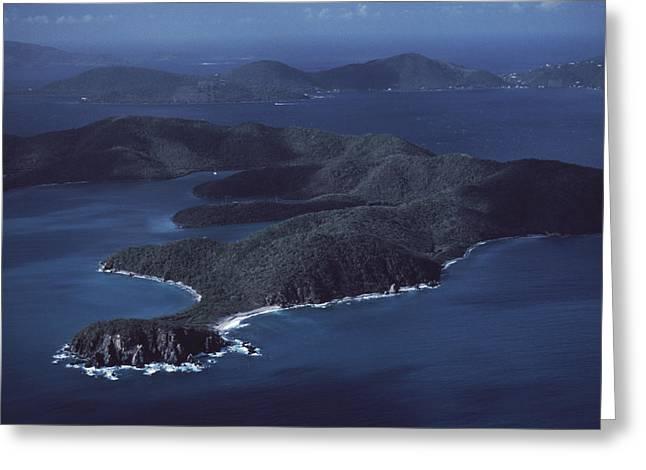 Lush Vegetation Greeting Cards - An Aerial Of Saint John Island Greeting Card by Ira Block