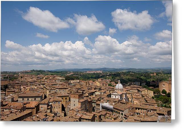 Sienna Italy Photographs Greeting Cards - An Aerial Of Sienna, Tuscany Greeting Card by Joel Sartore