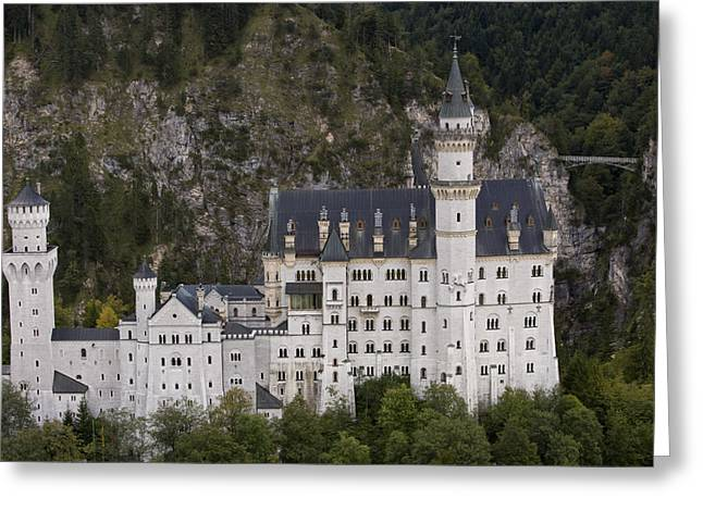 Art Of Building Greeting Cards - An Aerial View Of Neuschwanstein Castle Greeting Card by Michael Poliza
