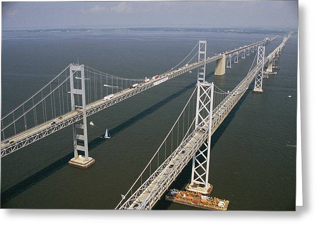 Chesapeake Bay Bridge Greeting Cards - An Aerial View Of The Chesapeake Bay Greeting Card by Richard Nowitz