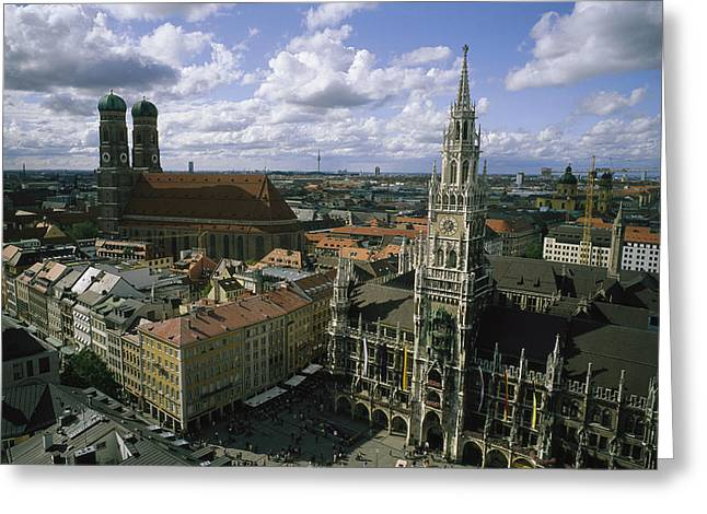 Marienplatz Greeting Cards - An aerial view of the Greeting Card by National Geographic