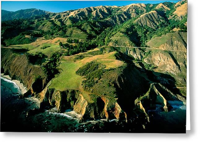 Santa Lucia Mountains Greeting Cards - An Aerial View Of The Shoreline Greeting Card by Frans Lanting