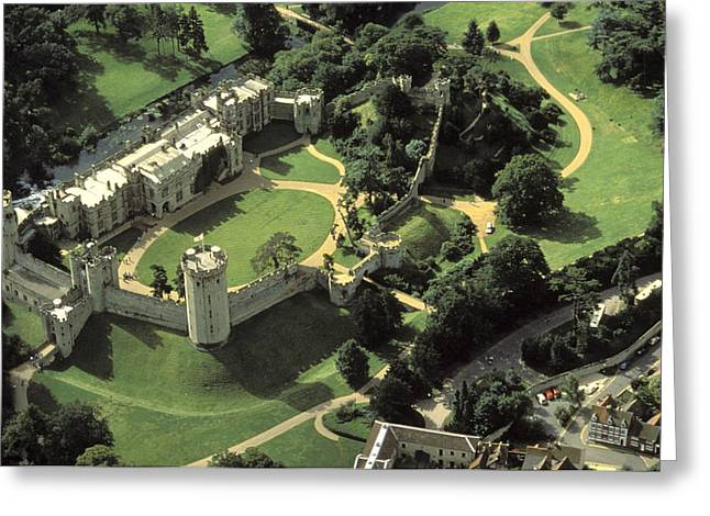 An Aerial View Of Warwick Castle Greeting Card by Richard Nowitz