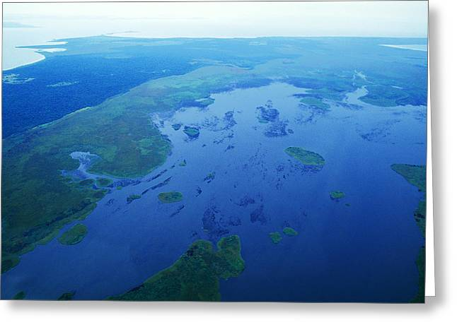 Island .oasis Greeting Cards - An Aerial View Of Wetlands Lining Greeting Card by Jason Edwards