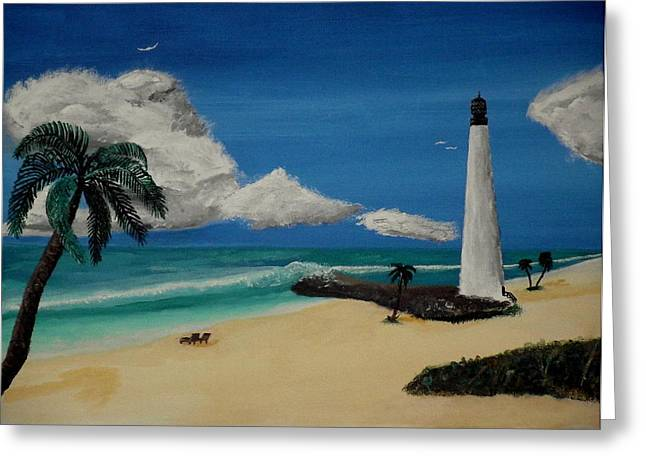 An Afternoon By The Lighthouse Greeting Card by Spencer Hudon II