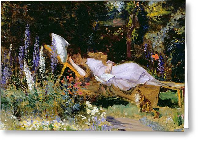 Park Scene Greeting Cards - An Afternoon Nap Greeting Card by Harry Mitten Wilson