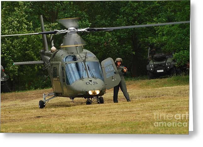 An Agusta A109 Helicopter Greeting Card by Luc De Jaeger