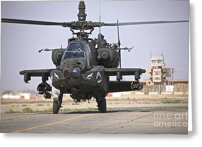 Iraq Greeting Cards - An Ah-64 Apache Helicopter Returns Greeting Card by Terry Moore