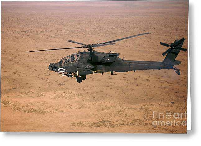 Launcher Greeting Cards - An Ah-64d Apache Longbow Fires A Hydra Greeting Card by Terry Moore