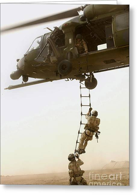 Colored Troops Greeting Cards - An Air Force Hh-60g Pavehawk Deploys Greeting Card by Stocktrek Images