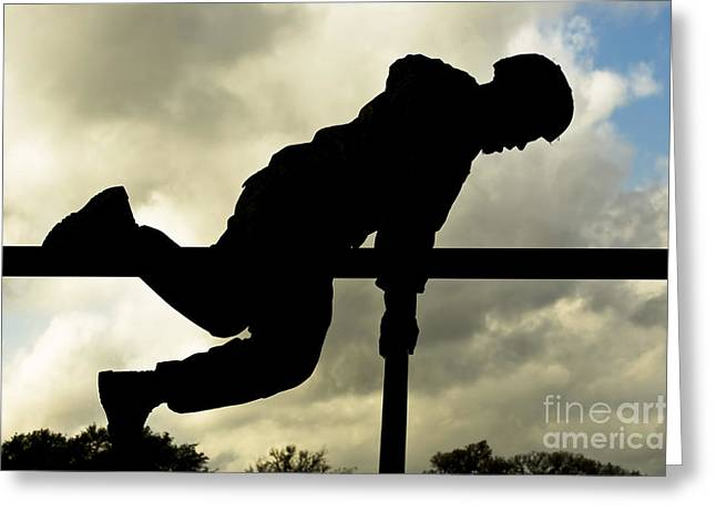 Physical Skill Greeting Cards - An Airman Scales An Obstacle At Camp Greeting Card by Stocktrek Images