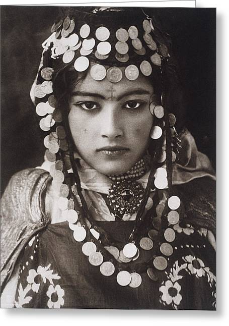 Period Photography Greeting Cards - An Algerian Girl Wears A Dowry Of Gold Greeting Card by Lehnert & Landrock