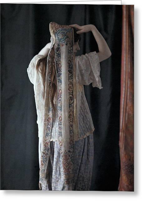An Algerian Woman Models A Headdress Greeting Card by Gervais Courtellemont