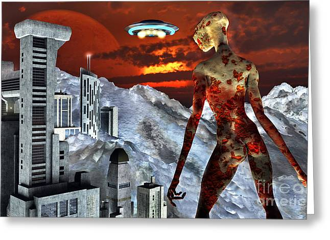 Lost Civilization Greeting Cards - An Alien Being Overlooks Its Base Built Greeting Card by Mark Stevenson
