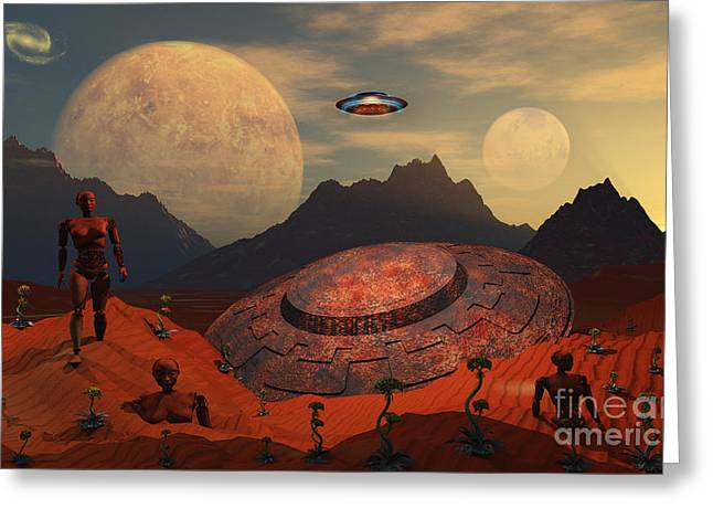 Illustration Technique Greeting Cards - An Alien Flying Saucer Comes Greeting Card by Mark Stevenson
