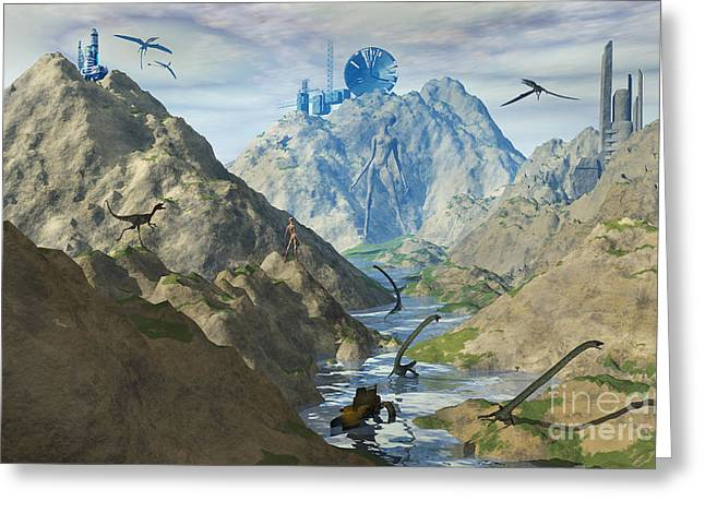 Ancient Ruins Digital Art Greeting Cards - An Alien Reptoid Looks Upon The Ruins Greeting Card by Mark Stevenson