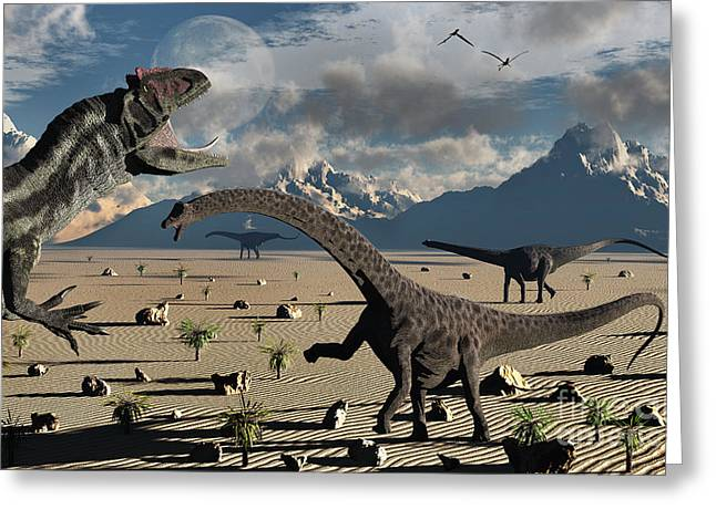An Allosaurus Confronts A Small Group Greeting Card by Mark Stevenson