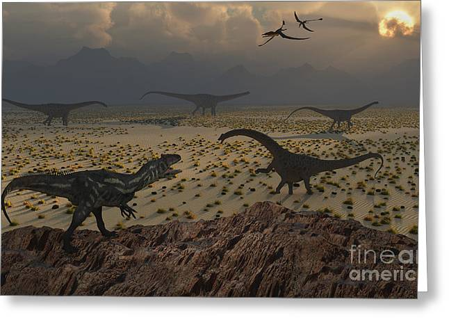 Primeval Greeting Cards - An Allosaurus Dinosaur Spies A Group Greeting Card by Mark Stevenson
