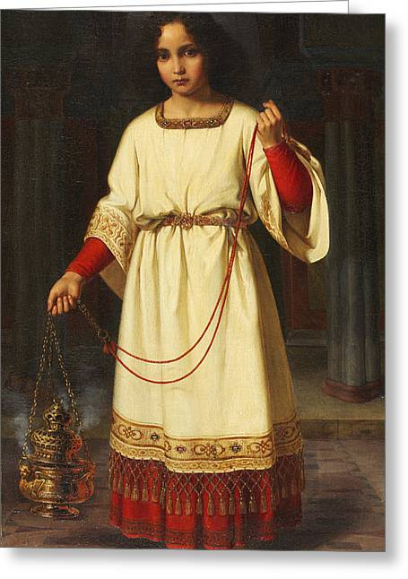 Young Boy Greeting Cards - An Altar Boy Greeting Card by Abraham Solomon