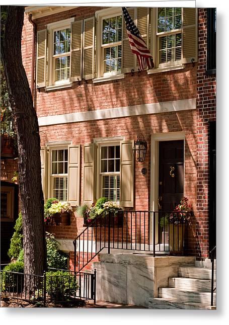 Philadelphia Street Greeting Cards - An American Home Greeting Card by Scott  Wyatt