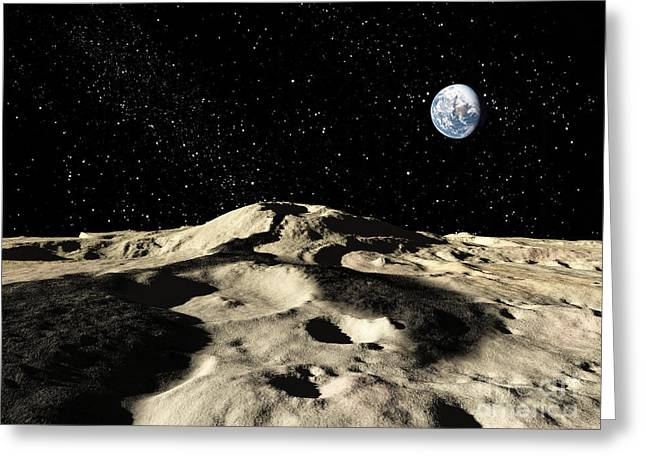 Astrogeology Greeting Cards - An Ancient Lava Flow On Earths Moon Greeting Card by Ron Miller