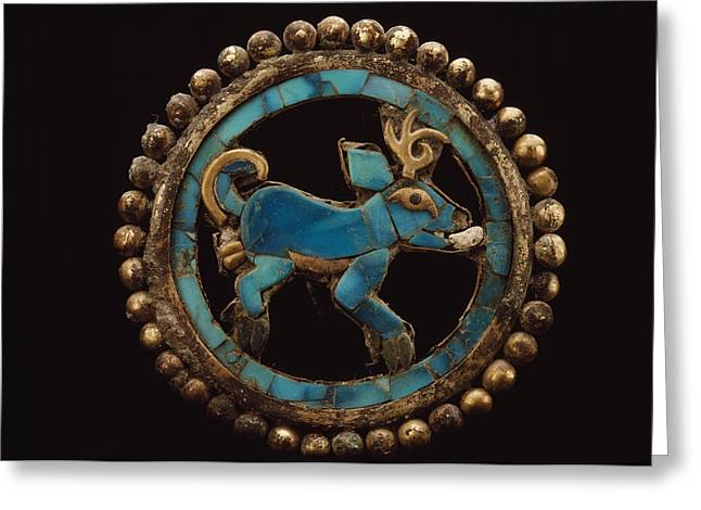 An Ancient Moche Indian Ear Ornament Greeting Card by Bill Ballenberg