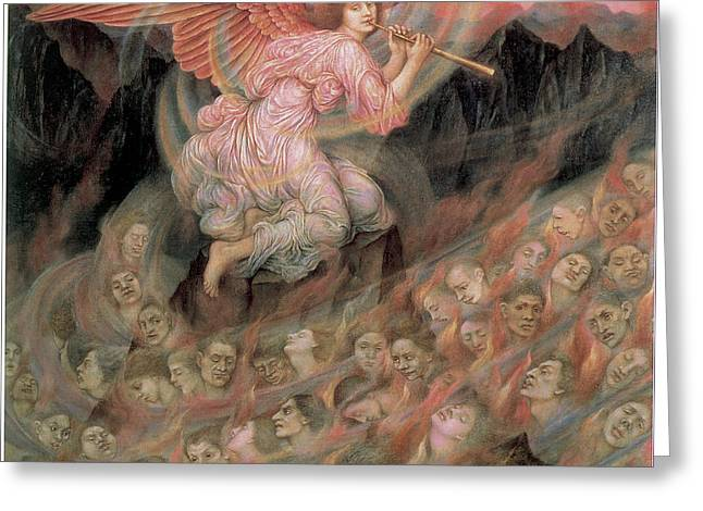 Evelyn De Greeting Cards - An Angel Piping to the Soulds in Hell Greeting Card by Evelyn De Morgan