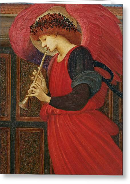 Red Dress Greeting Cards - An Angel Playing a Flageolet Greeting Card by Sir Edward Burne-Jones