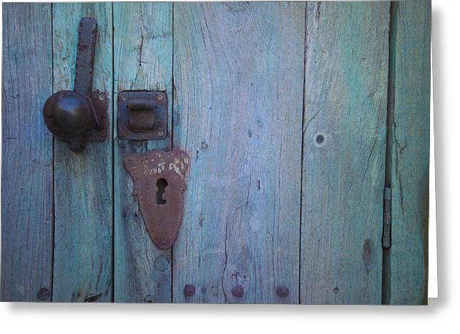 Turquoise And Rust Greeting Cards - An antique lock on a Greeting Card by Raul Touzon