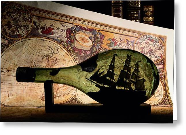 Sailing Ship Greeting Cards - An Antique Map Provides The Backdrop Greeting Card by Todd Gipstein