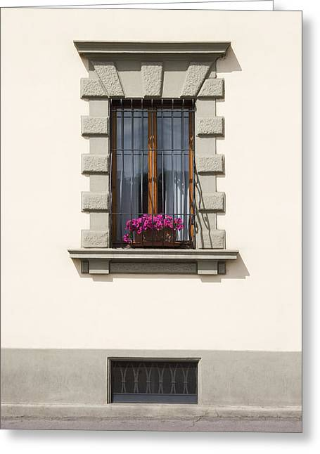 Residential Structure Greeting Cards - An Apartment Window On A Street Greeting Card by Greg Stechishin