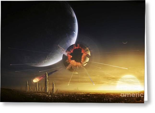 Destiny Greeting Cards - An Apocalyptic Scene Showing A Gravity Greeting Card by Tobias Roetsch