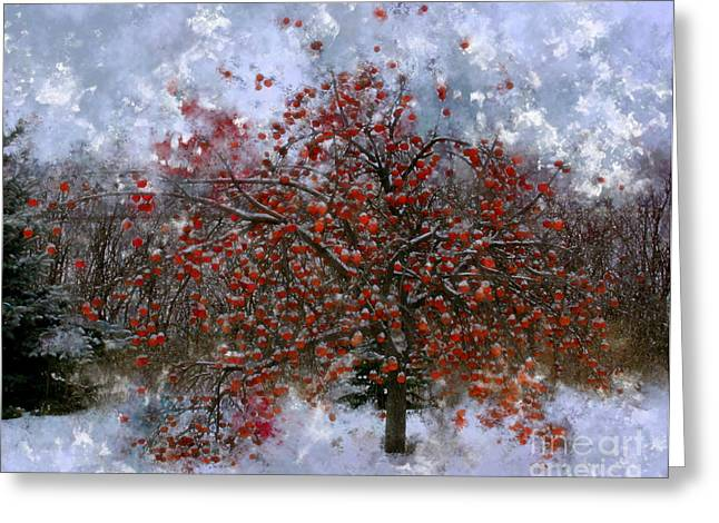 Snowy Day Greeting Cards - An Apple of a Day Greeting Card by Julie Lueders