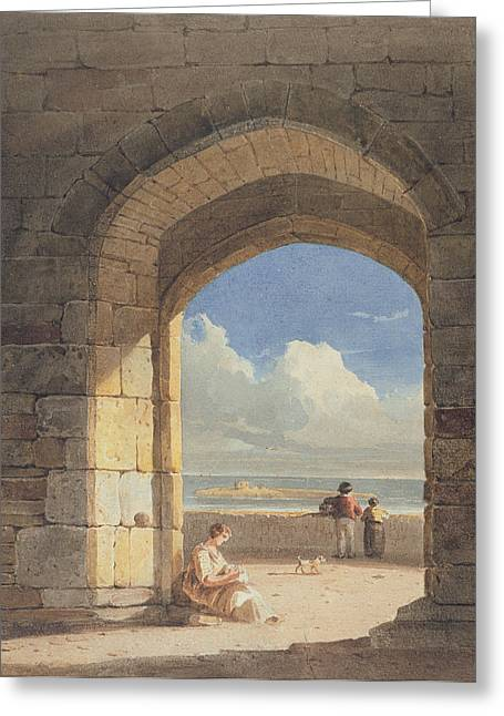 Northumberland Greeting Cards - An Arch at Holy Island - Northumberland Greeting Card by John Varley