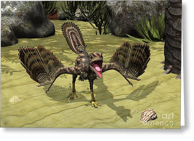 Generate Life Greeting Cards - An Archaeopteryx Depicted Greeting Card by Walter Myers