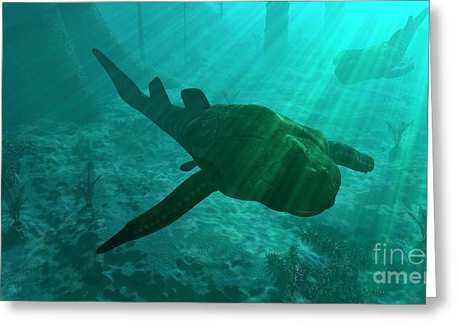 Sea Life Digital Art Greeting Cards - An Armored Bothriolepis Glides Greeting Card by Walter Myers