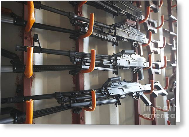 Pk Greeting Cards - An Armory Of Pk Machine Guns Designed Greeting Card by Terry Moore