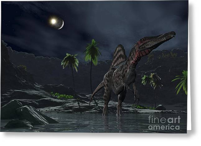 Wildlife Disasters Greeting Cards - An Asteroid Impact On The Moon While Greeting Card by Walter Myers