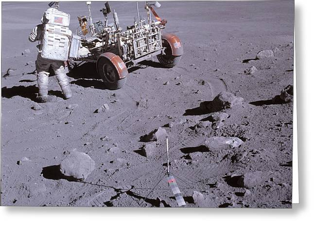 Roving Greeting Cards - An Astronaut And A Lunar Roving Vehicle Greeting Card by Stocktrek Images
