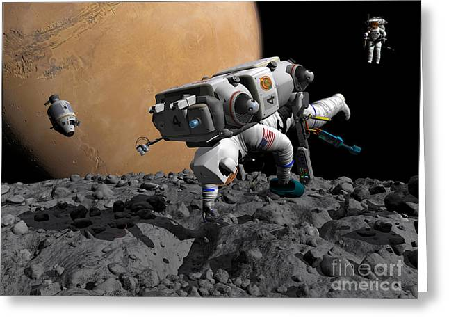 An Astronaut Makes First Human Contact Greeting Card by Walter Myers