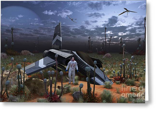Starfighter Greeting Cards - An Astronaut Surveys The Desert Like Greeting Card by Mark Stevenson