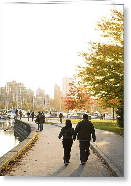 People In Autumn Greeting Cards - An Autumn Evening In Stanley Park Greeting Card by Taylor S. Kennedy