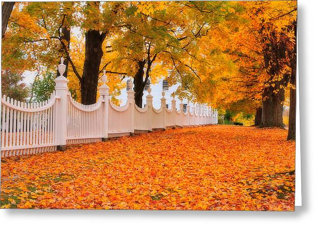 New England Village Greeting Cards - An Autumn Stroll - West Bennington Vermont Greeting Card by Thomas Schoeller